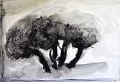 Arbres à Gordes 2015, 20x30, crayon aquarelle, Christine Lévy-Rostagnat