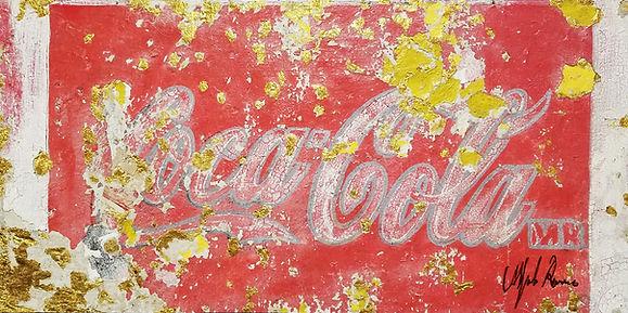 """""""Coca-Cola, Yellow"""", 2017, Strappo and gold on cotton canvas 24"""" x 47"""""""