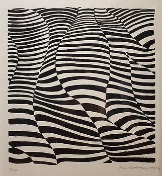 "Sonia Delauney, ""Black and White III"", 47/50, 1933-1971, Lithograph"
