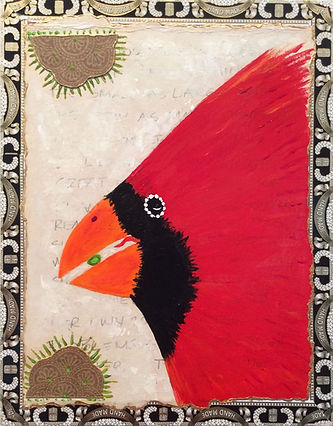 "Cardinal, #1714, 2017, Mixed Media on Cigar Box, 9.5"" x 7.5"""
