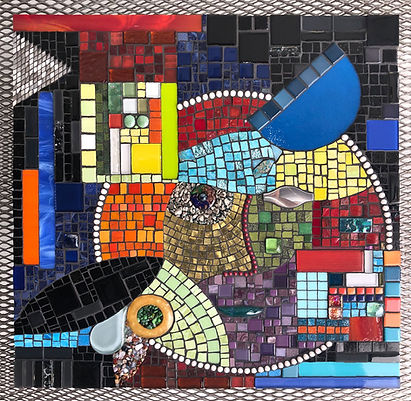 """""""Our Many Faces"""", Glass Mosaic on Wood Panel, 24"""" x 24"""""""