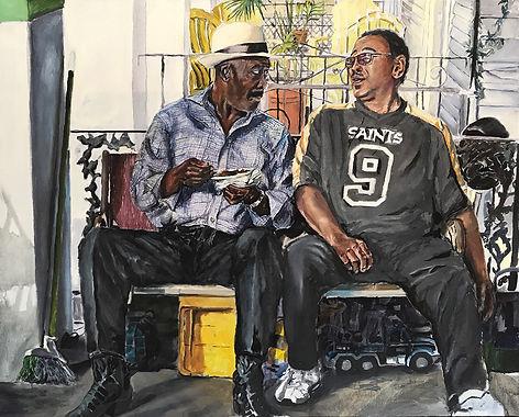 """Grown Folks Talking"", 2015, oil on canvas, 52"" x 73"""