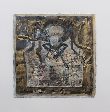 """""""All That Glitters Is Not Gold"""", 2014, ink, chalk, collage, ruble note / paper, 9"""" x 9"""""""