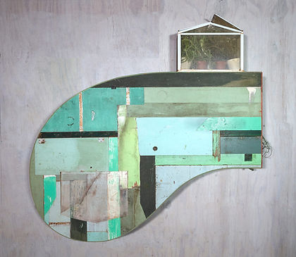 """""""green thumb"""", Found painted wood, re-animated paint, plexiglass, glass, wallpaper, found objects, aluminum paint, terrarium with assorted cacti and succulents, 61""""x 59""""x 14"""""""