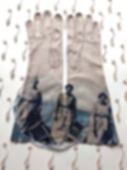 """""""Not Handled with Kid Gloves"""", Cyanotype on vintage kid gloves, 24"""" x 15.5"""""""