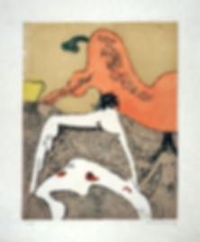 "Dorothea Tanning, ""En Chair et en Or: Corps et visage, 1973, Color etching with aquatint on Japon paper, 17.1"" x 12.8"", Signed and numbered 28/100"