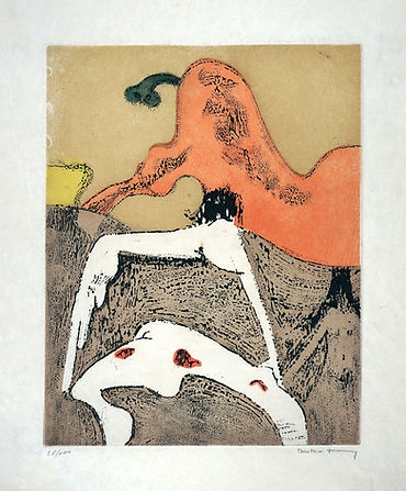 """Dorothea Tanning, """"En Chair et en Or: Corps et visage, 1973, Color etching with aquatint on Japon paper, 17.1"""" x 12.8"""", Signed and numbered 28/100"""