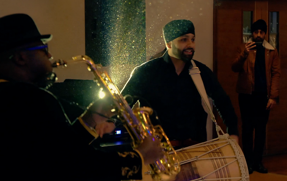 Dholi and saxophonist