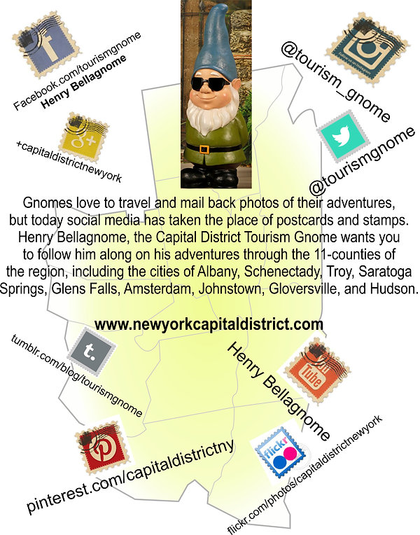 Where to find the Capital District Tourism Gnome on social media