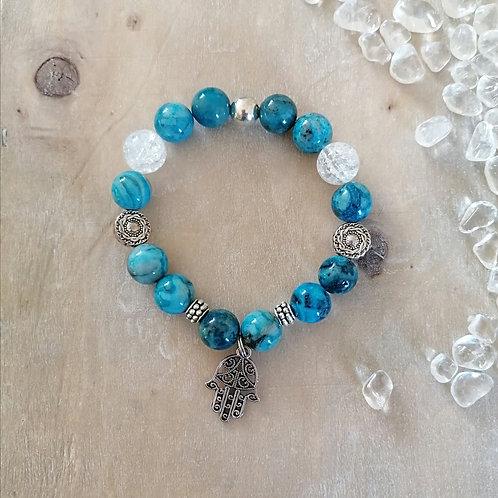 Armband mit Achat und Bergkristall