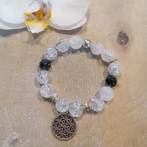 Armband mit Bergkristall und Hämatit