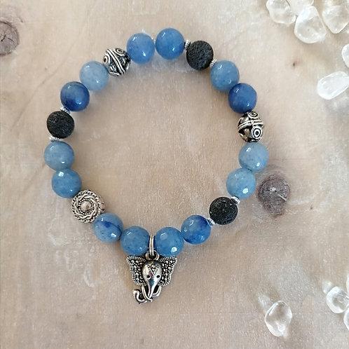 Armband mit Blauquarz und Lava