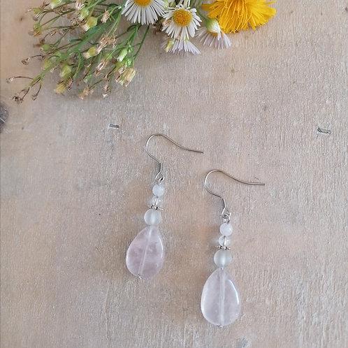 Ohrringe Rosenquarz mit Bergkristall