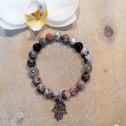 Armband mit Lace Achat und Onyx
