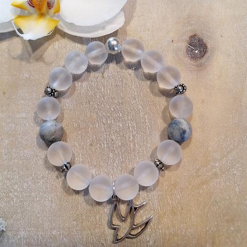 Armband mit Bergkristall und Jaspis