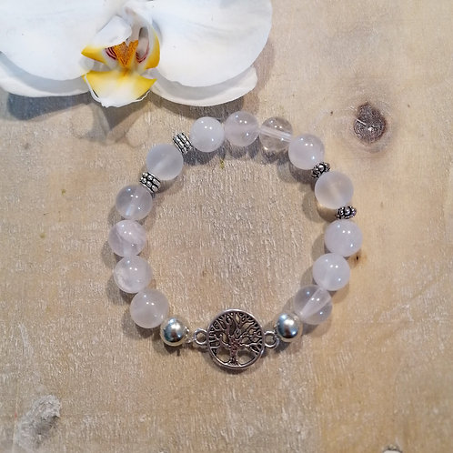 Armband mit Rosenquarz und Bergkristall