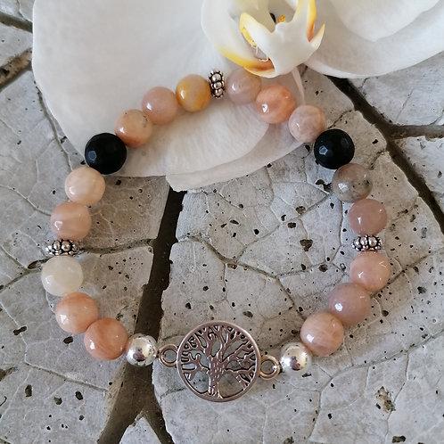 Armband mit Mondstein und Onyx