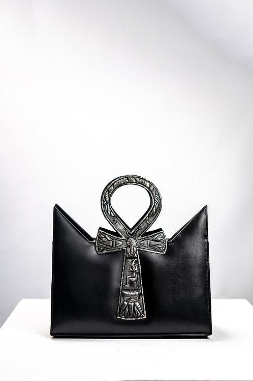 Black Silver Oxide Tote Ankh Bag