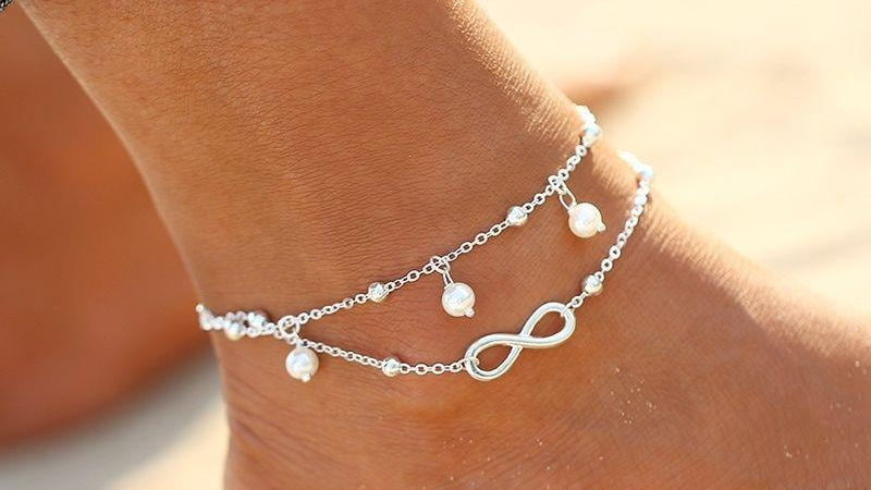 Double Chain Infinity Pearl Anklet