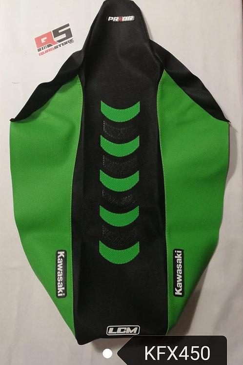 Funda asiento antideslizante LCM Yamaha KFX450 Negro Verde Verde