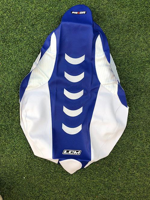 Funda asiento antideslizante PRIOR LCM Yamaha YFZ450r Blanco Azul Blanco