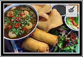 Hot & Sour King Prawn Noodle Soup served with Chicken Lumpia & Kroepoek