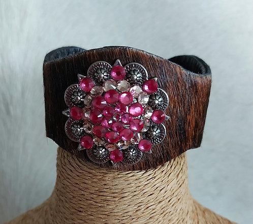 Cowhide Rhinestone  Bracelet