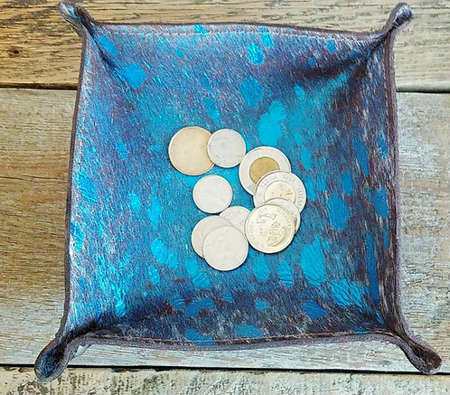 Valet Tray- Blue and Brown Acid Cowhide