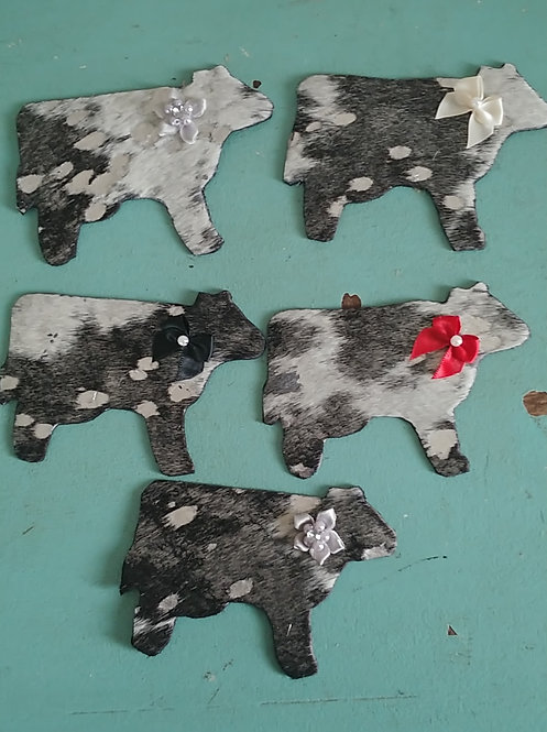 Cow Magnets- Black and Silver Acid