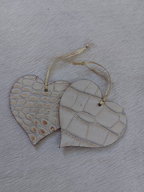 Double Sided Crème and Gold  Heart