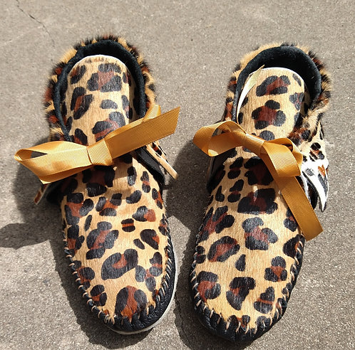 Leopard Moccasins with Black Leather