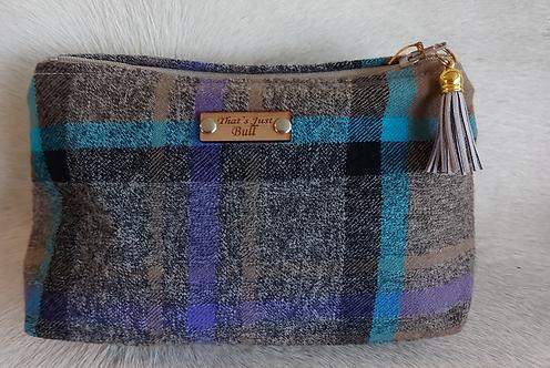 Vintage Wool Makeup Bags-Grey Plaid