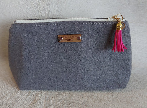 Vintage Wool Makeup Bags- Grey Wool