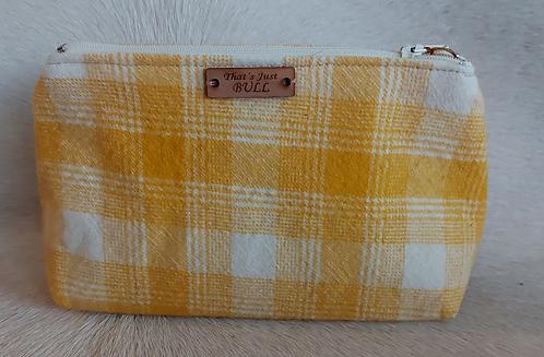 Vintage Wool Makeup Bags- Yellow Plaid
