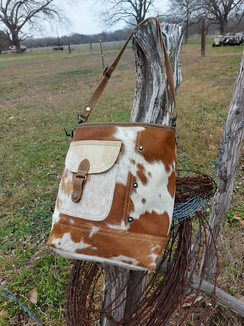 The Austin -BROWN AND WHITE SHOULDER BAG
