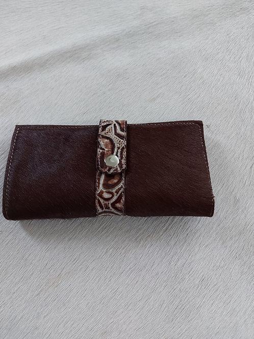 Dark Brown Wallet with Embossed Roses
