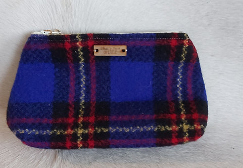 Vintage Wool Makeup Bags- Blue Plaid