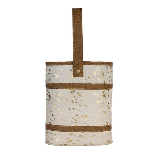 Wine Bags-White/gold Acid Hide