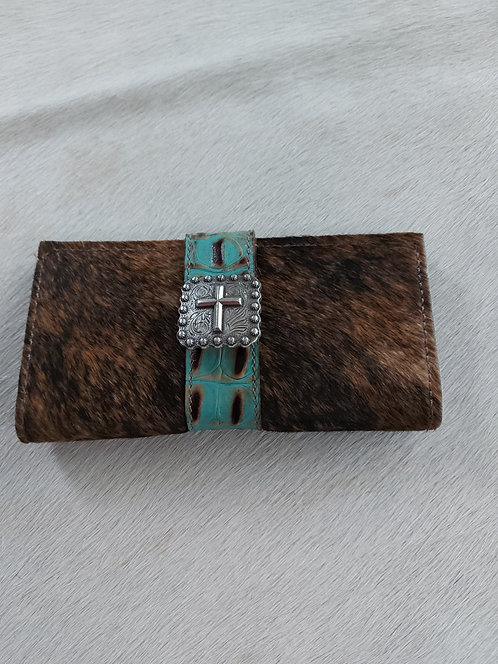 Brindle Wallet with Turquoise and cross concho