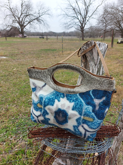 Blue Wealth Tote Bag with Grey Brindle