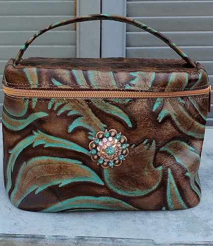 Diva Beauty Case - Turquoise Leaf