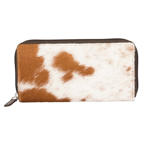 Brown and White S&P cowhide wallet