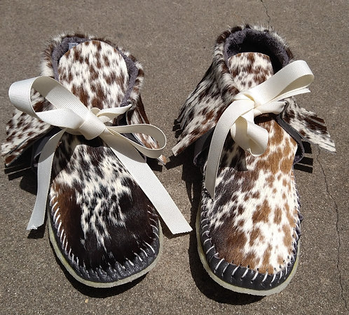Black/Brown/White Moccasins with Brown Leather