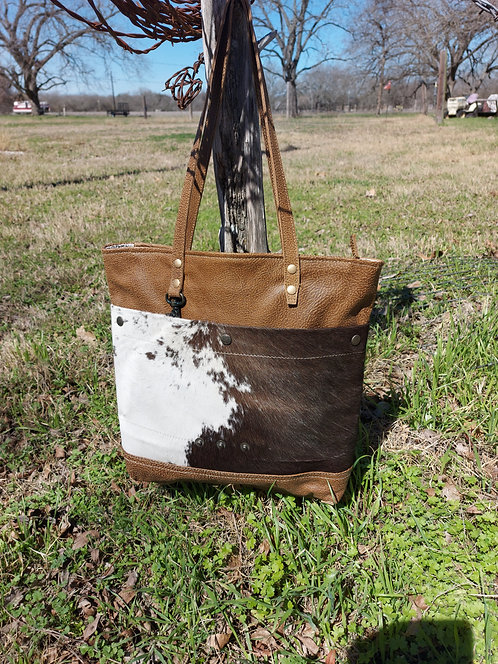 COCOA LEATHER & BLACK AND WHITE COWHIDE