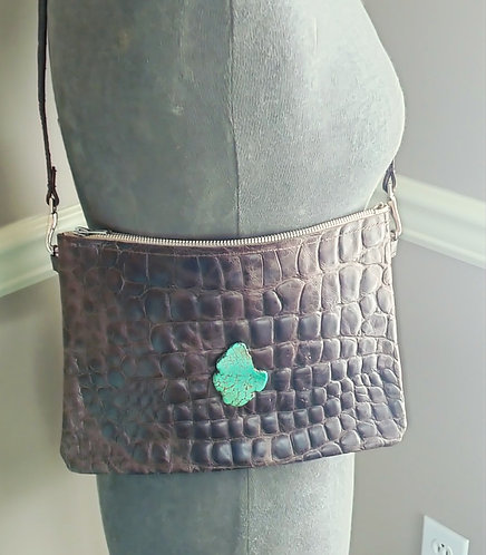 Hailey Bag- Crossover-Brown Croco Stamped Leather