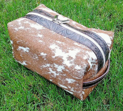 Large Makeup Bag -Brown and White S&P Cowhide #2