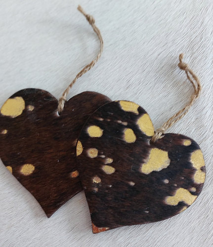 Double Sided Cowhide Heart -Brown and Gold Acid