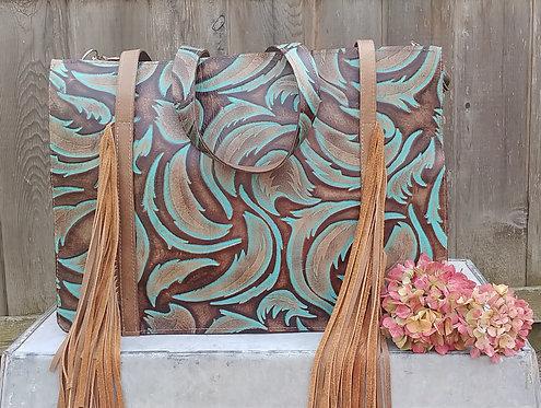 Chelsea Bag- Turquoise Leaf