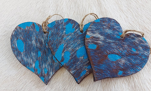 Double Sided Cowhide Heart -Blue Acid