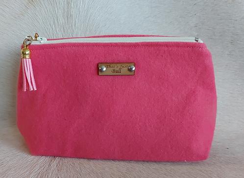 Vintage Wool Makeup Bags- Pink Wool